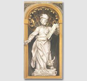 Statua lignea raffigurante S. Luca, opera di Ignazio Perucca (1707 – 1780) nel Santuario di Sommariva del Bosco
