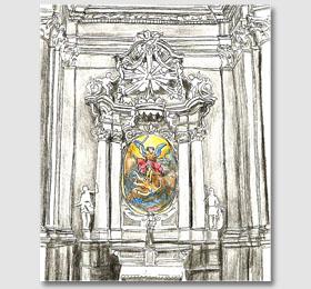 Schizzo in chiaroscuro della cappella di San Michele Arcangelo del Santuario di Sommariva del Bosco
