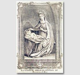 Stampa del Belmondo del 1747 inerente la Beata Vergine Maria all´interno del Santuario di Sommariva del Bosco,opere del Belmondo,Belmondo stampe,le opere di Belmondo,la Madonna di Belmondo